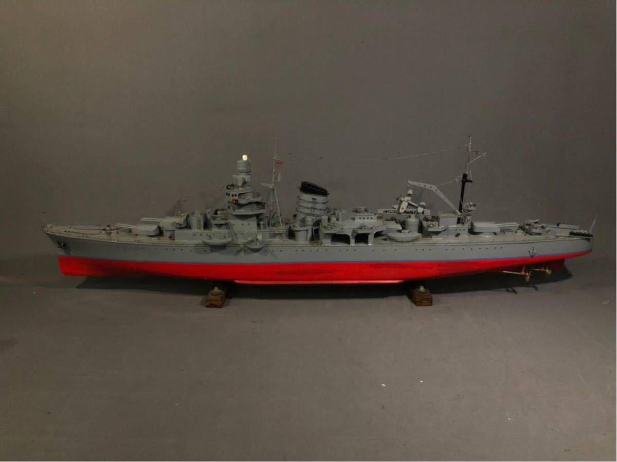 軍艦 模型 超特大 戦艦 金属製 木製 置物 矢矧 戦艦大和 軽巡洋艦 インテリア アンティーク 船 完成品 極上品 迫力 130㎝ 大日本帝国 海軍_画像2
