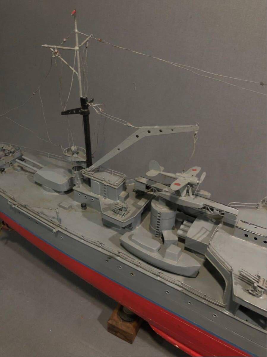 軍艦 模型 超特大 戦艦 金属製 木製 置物 矢矧 戦艦大和 軽巡洋艦 インテリア アンティーク 船 完成品 極上品 迫力 130㎝ 大日本帝国 海軍_画像8