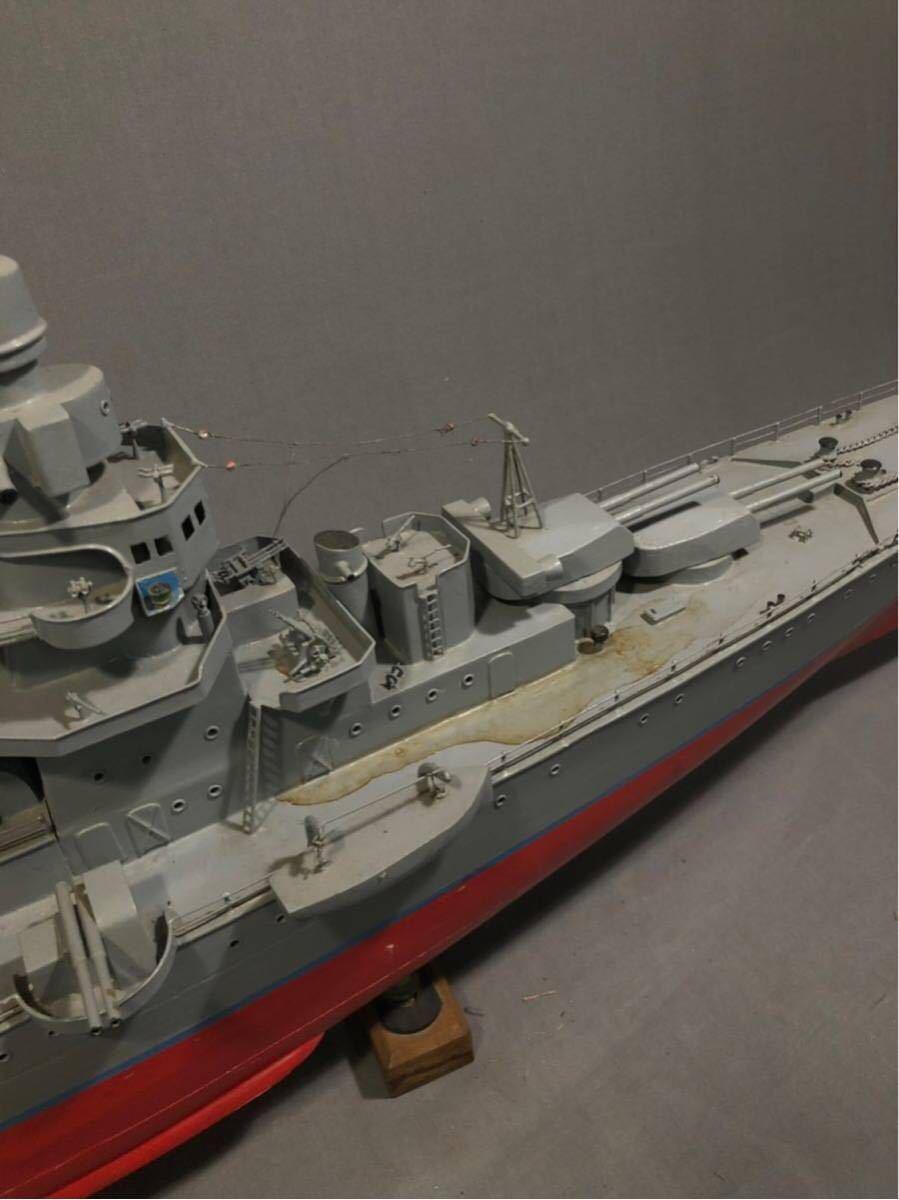 軍艦 模型 超特大 戦艦 金属製 木製 置物 矢矧 戦艦大和 軽巡洋艦 インテリア アンティーク 船 完成品 極上品 迫力 130㎝ 大日本帝国 海軍_画像5