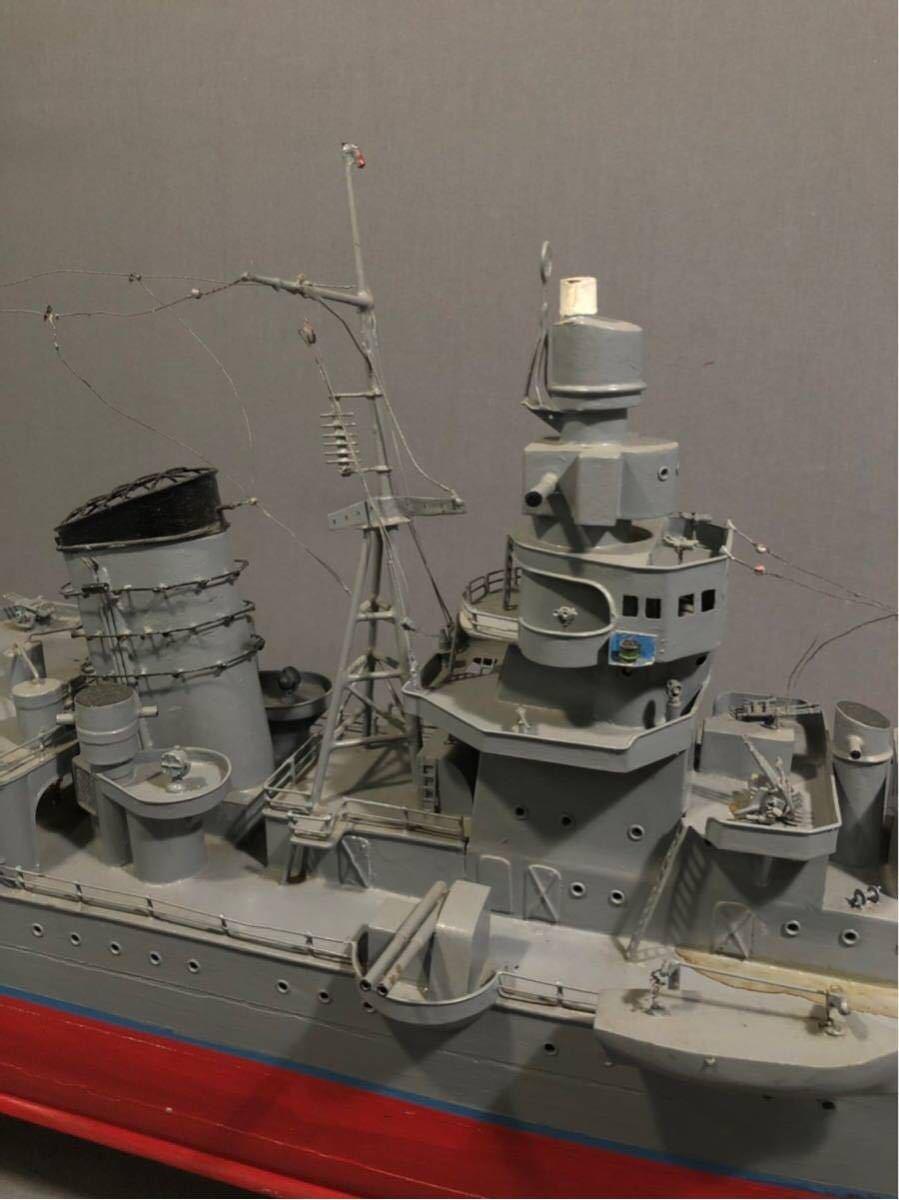 軍艦 模型 超特大 戦艦 金属製 木製 置物 矢矧 戦艦大和 軽巡洋艦 インテリア アンティーク 船 完成品 極上品 迫力 130㎝ 大日本帝国 海軍_画像6