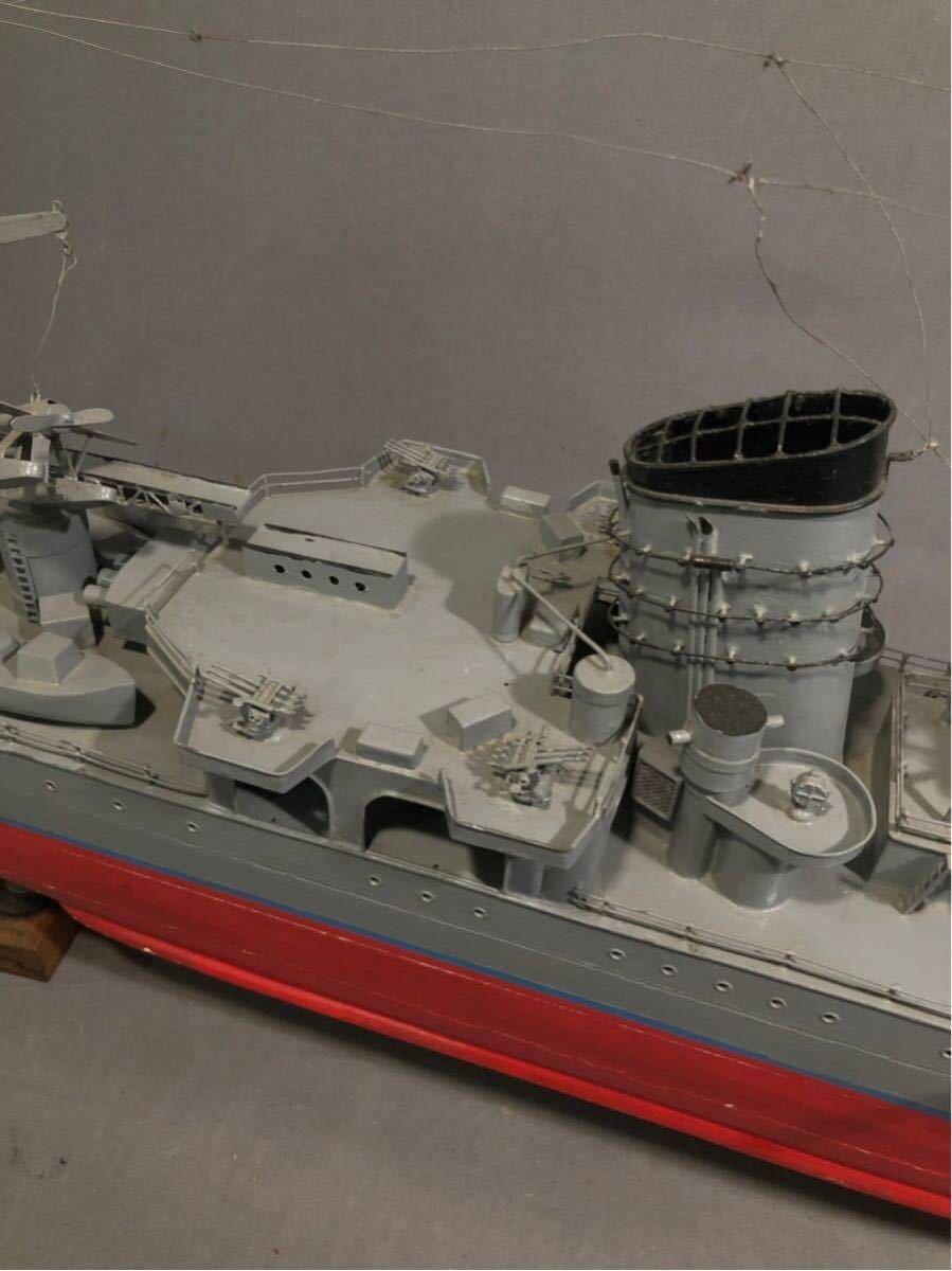 軍艦 模型 超特大 戦艦 金属製 木製 置物 矢矧 戦艦大和 軽巡洋艦 インテリア アンティーク 船 完成品 極上品 迫力 130㎝ 大日本帝国 海軍_画像7