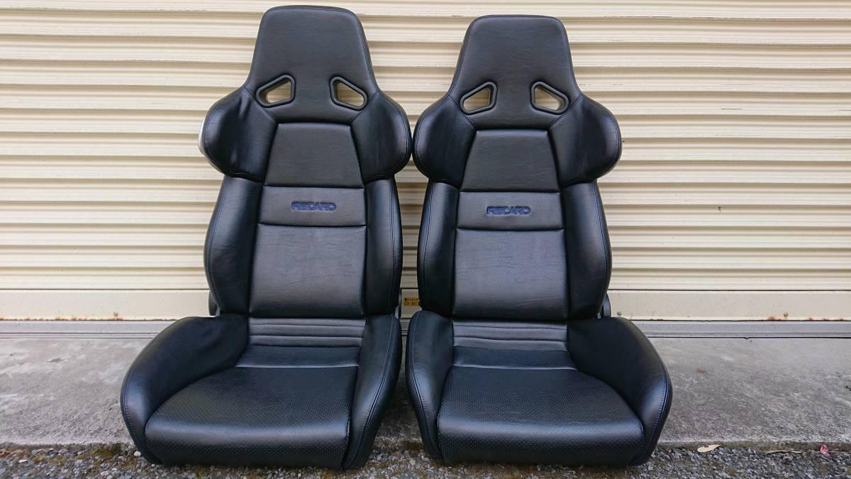 RECARO セミバケットシート2脚セット A8 ブラックレザー、パンチング、ブルーステッチ ポルシェ、NSX等2シーターに最適(SR-6,SR-3,SR6,SR3)