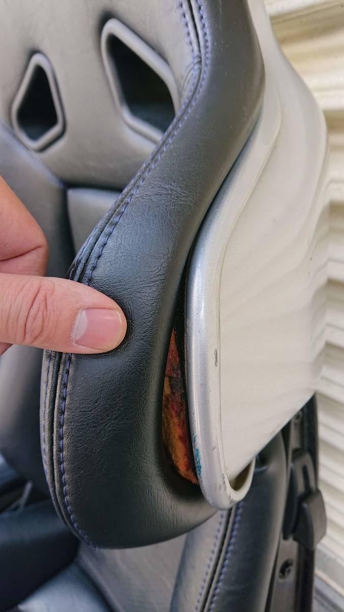RECARO セミバケットシート2脚セット A8 ブラックレザー、パンチング、ブルーステッチ ポルシェ、NSX等2シーターに最適(SR-6,SR-3,SR6,SR3)_画像10