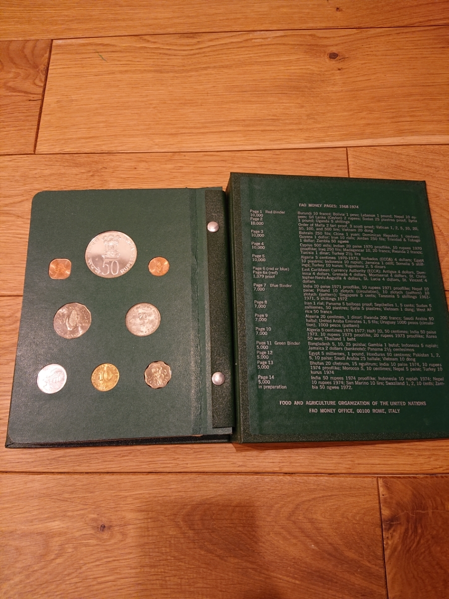 国連FAOコインアルバム第3部 グリーン 計32枚 1974年 紙幣 貨幣 銀貨_画像6