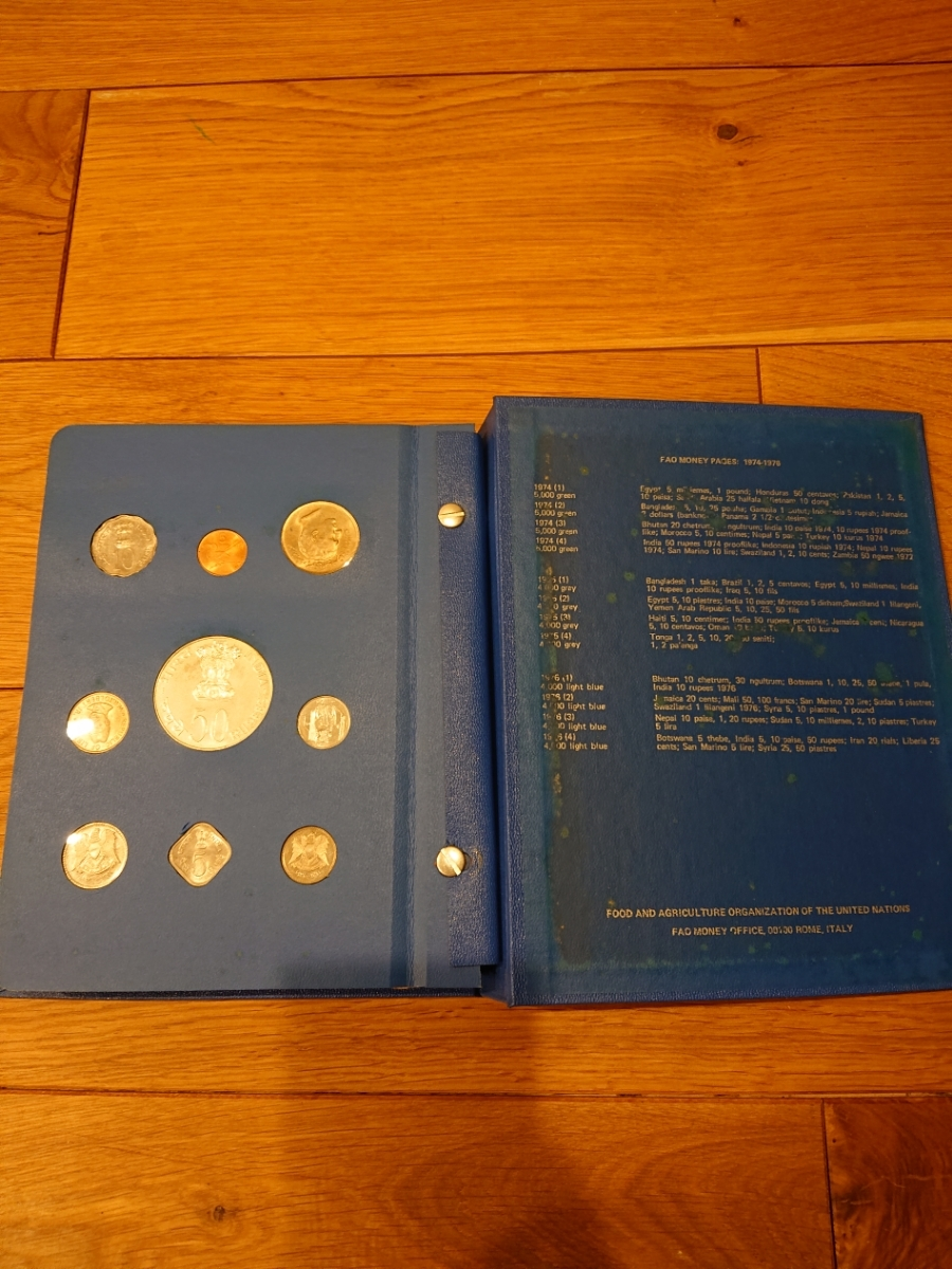 国連FAOコインアルバム第5部 ライトブルー 計34枚 1976年 貨幣 銀貨_画像6