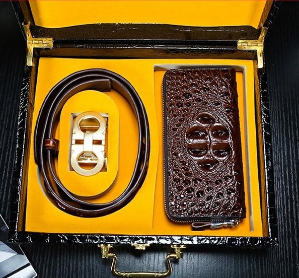 高級シャムクロコ 財布&クロコベルト クロコダイルレザー 長財布 腹部使用 ワニ革 本物 メンズ 紳士用 プレゼント