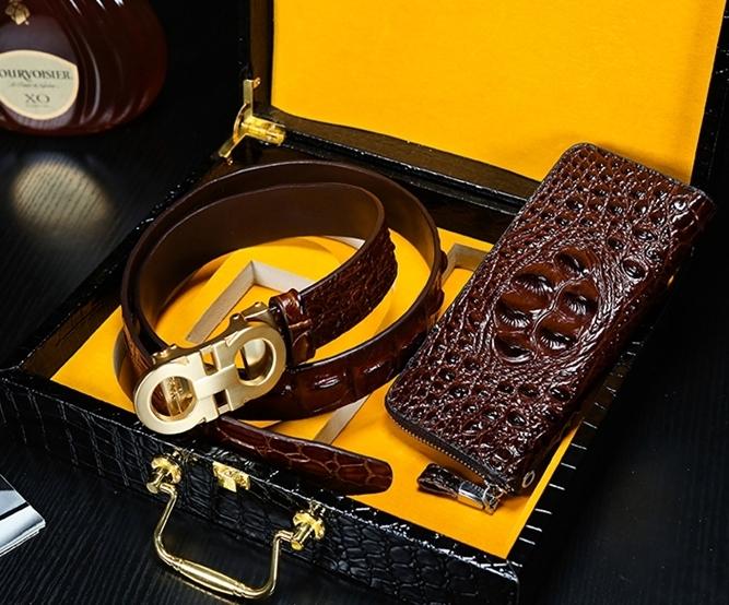 高級シャムクロコ 財布&クロコベルト クロコダイルレザー 長財布 腹部使用 ワニ革 本物 メンズ 紳士用 プレゼント_画像3