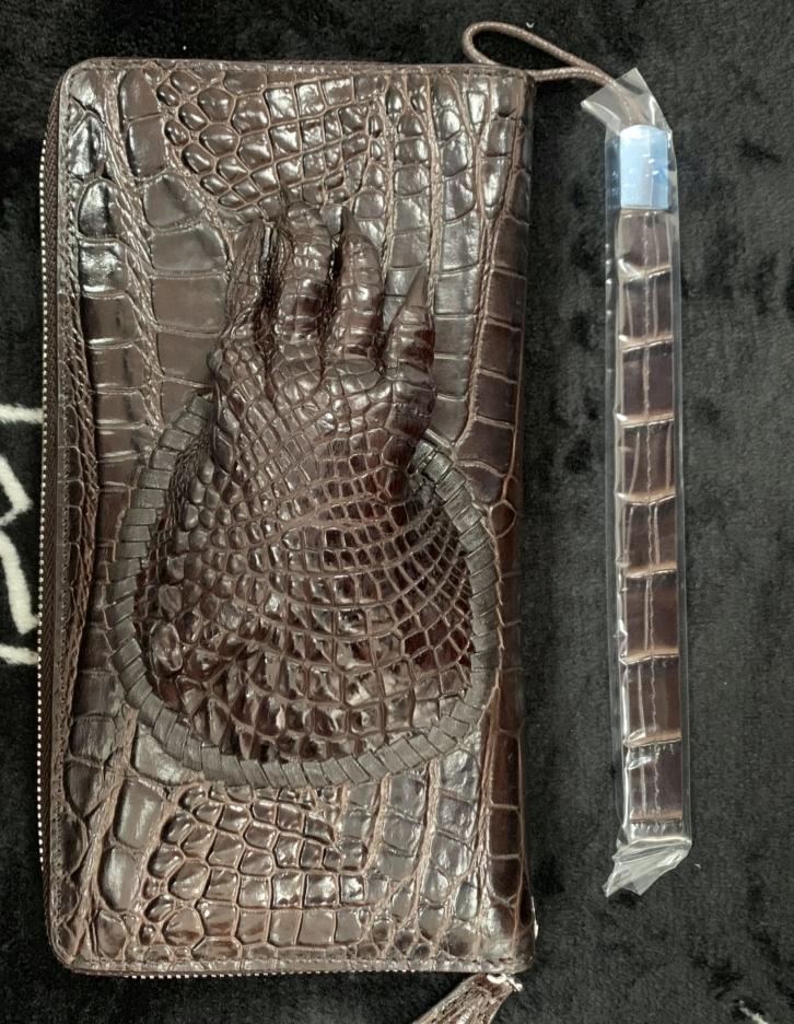 鑑定大歓迎 爪付きクロコダイル 本革財布【定価18万超高級】ワニ革 クロコダイル シャムクロコラウンドファスナー長財布 メンズ 2_画像4