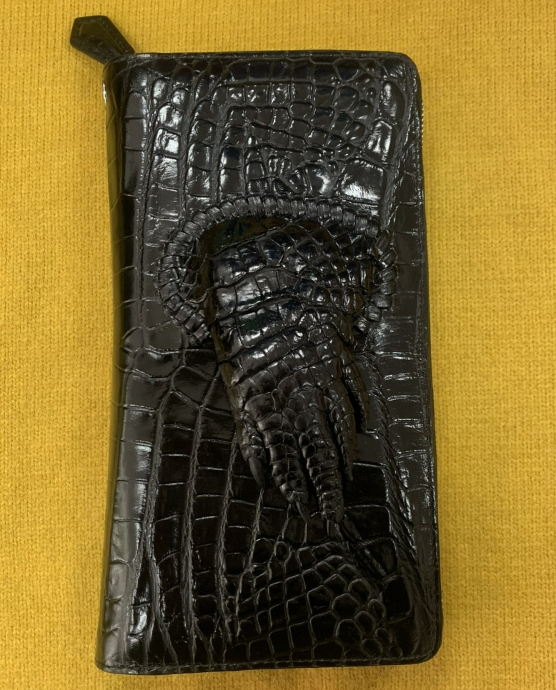 鑑定大歓迎 爪付きクロコダイル 本革財布【定価18万超高級】ワニ革 クロコダイル シャムクロコラウンドファスナー長財布 メンズ