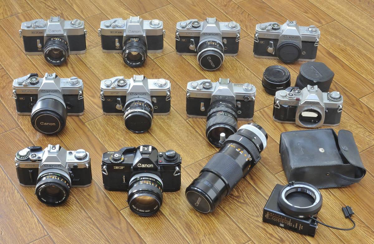 ジャンク品 Canon EF・AE-1・FTb等 ボディ10台  レンズ9本他まとめて