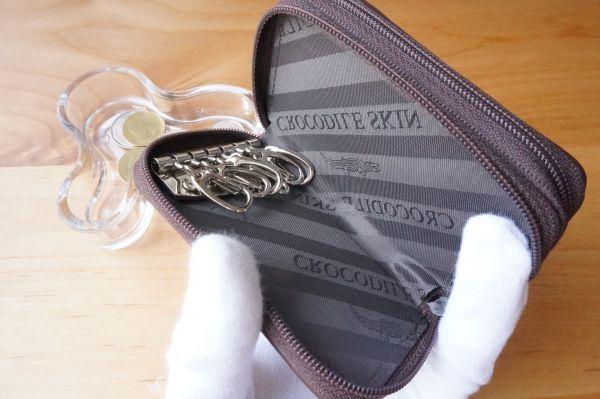 【上代9万円】高級 クロコダイル 小銭入れ コインケース キーケース ワニ 革 メンズ 鍵入れ ダブルファスナー ブラウン カードケース_画像6