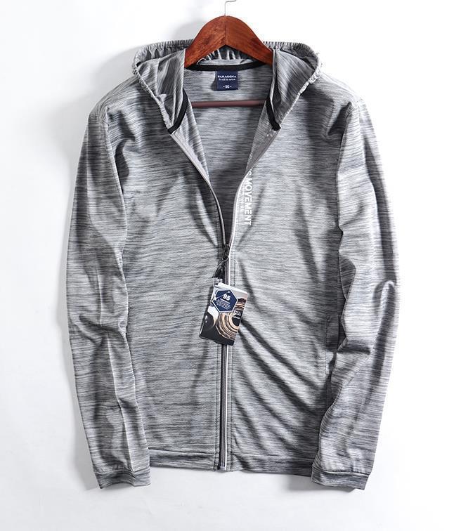 新品 メンズ ジャケット 日焼け止めパーカー アウター ブルゾン ランニングジャケット 通気 超薄手 ジャージ ジャンパー グレ/ M