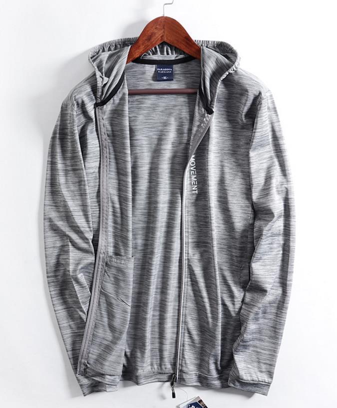 新品 メンズ ジャケット 日焼け止めパーカー アウター ブルゾン ランニングジャケット 通気 超薄手 ジャージ ジャンパー グレ/ M_画像2
