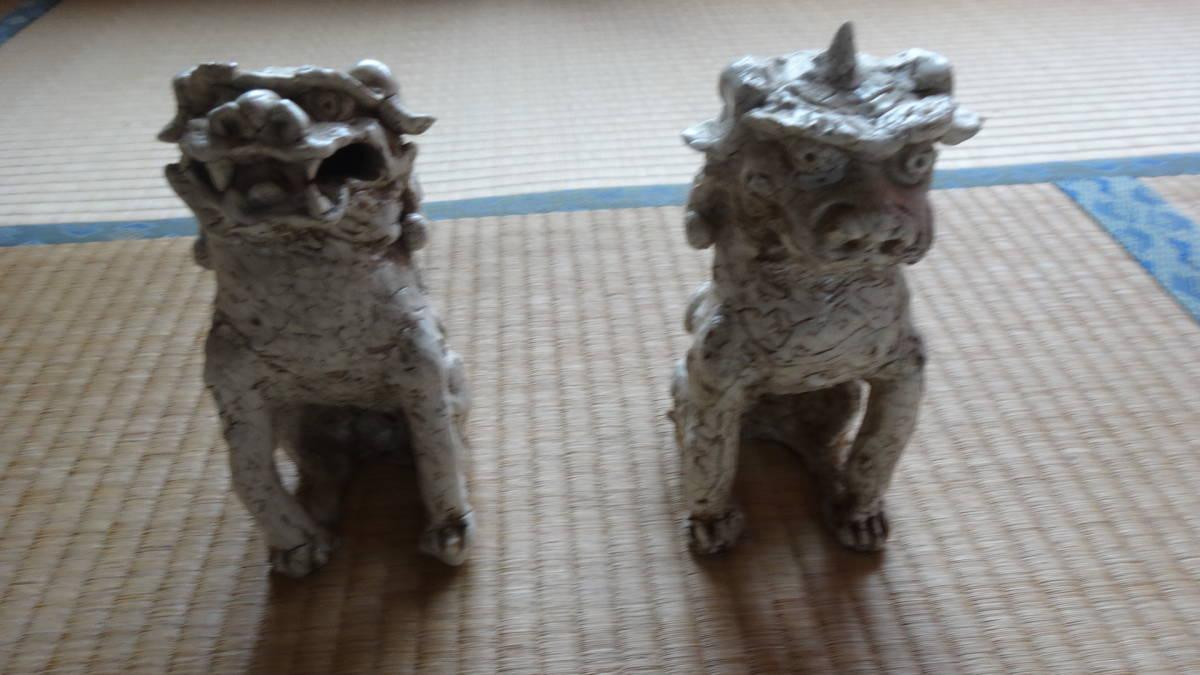 志野焼き 獅子 狛犬_画像1