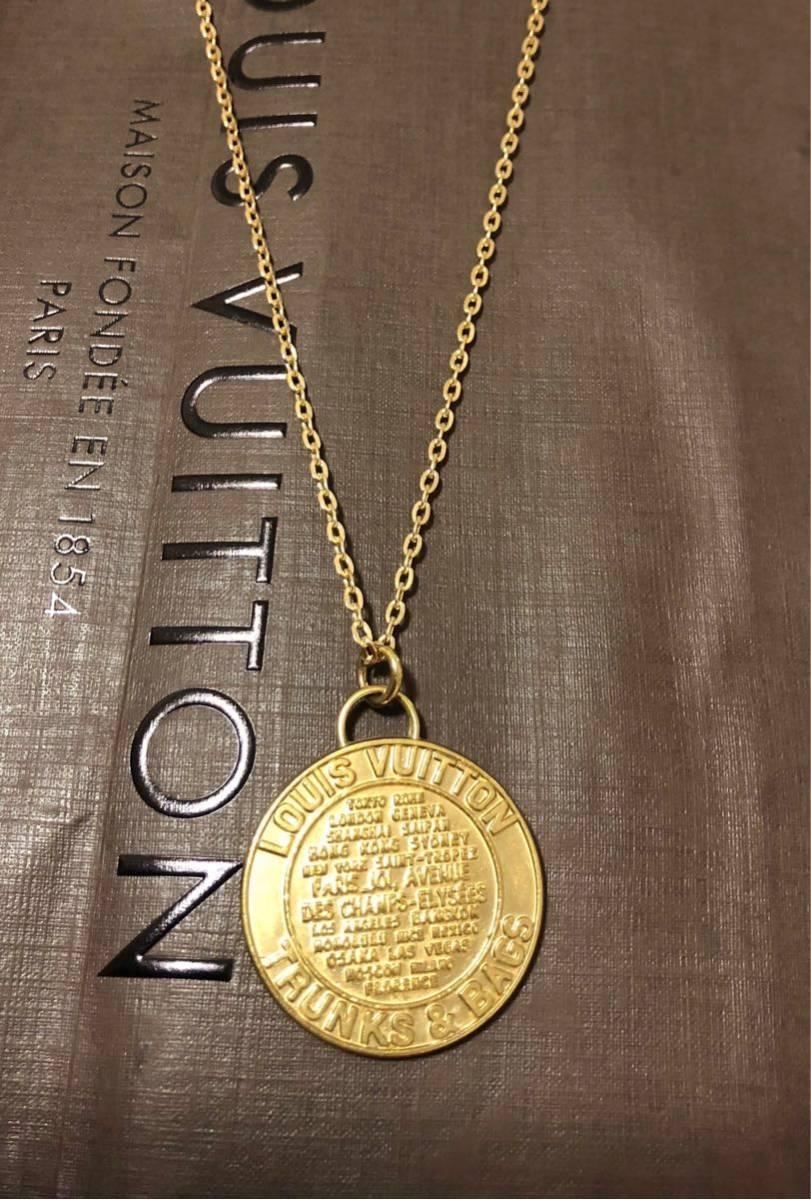 超美品 一点のみ 正規品 ルイヴィトン メダルトップ チャーム ネックレス ユニセックス ゴールド クリックポスト185円_画像8