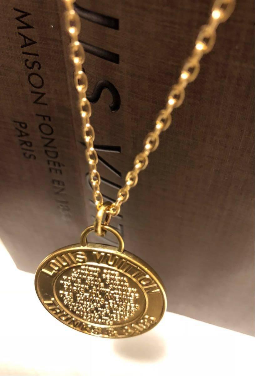 超美品 一点のみ 正規品 ルイヴィトン メダルトップ チャーム ネックレス ユニセックス ゴールド クリックポスト185円_画像5