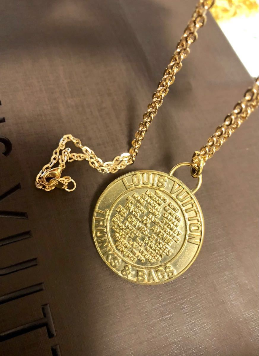 超美品 一点のみ 正規品 ルイヴィトン メダルトップ チャーム ネックレス ユニセックス ゴールド クリックポスト185円_画像7