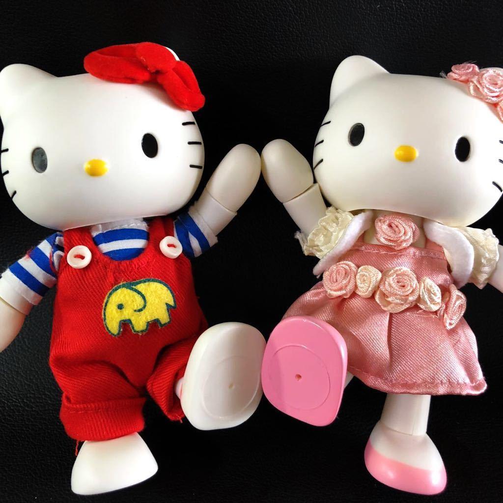 『1円スタート!』★ Hello Kitty ★【激レア・美品】自在フィギュア2点セット!1974・2004年スタイル★約11.5cm★30周年記念!現品限り!
