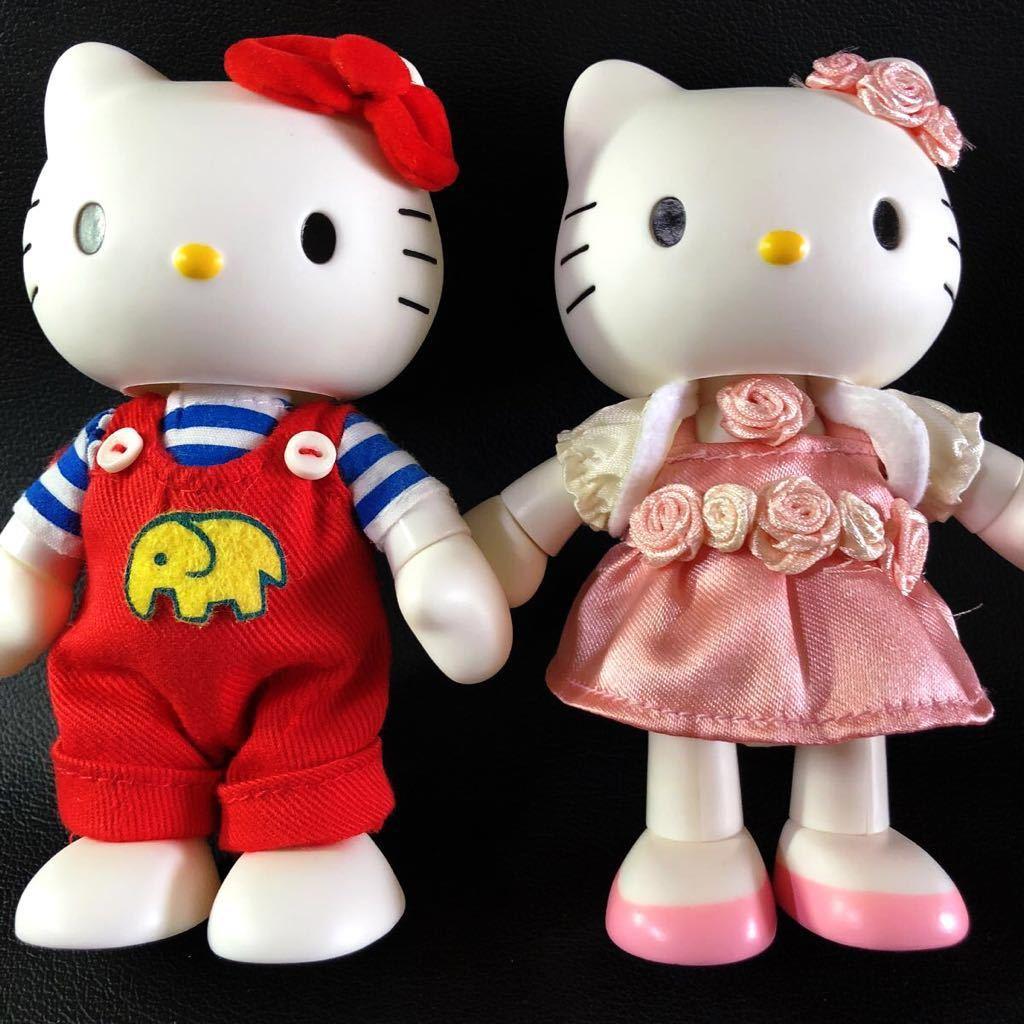 『1円スタート!』★ Hello Kitty ★【激レア・美品】自在フィギュア2点セット!1974・2004年スタイル★約11.5cm★30周年記念!現品限り!_画像3