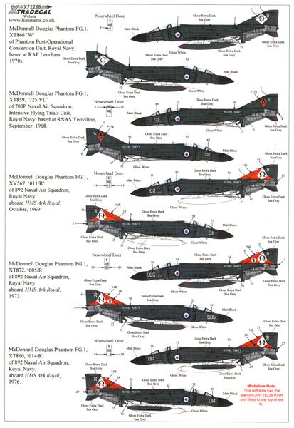 X72268 エクストラデカール 1/72:イギリス海軍 ファントム FG.1_画像1