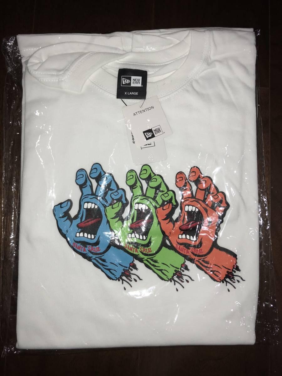 レア 新品未使用 NEW ERA ニューエラ サンタクルーズ コラボ Tシャツ XLサイズ スクリーミングハンド 白 パウエル スケート_画像3