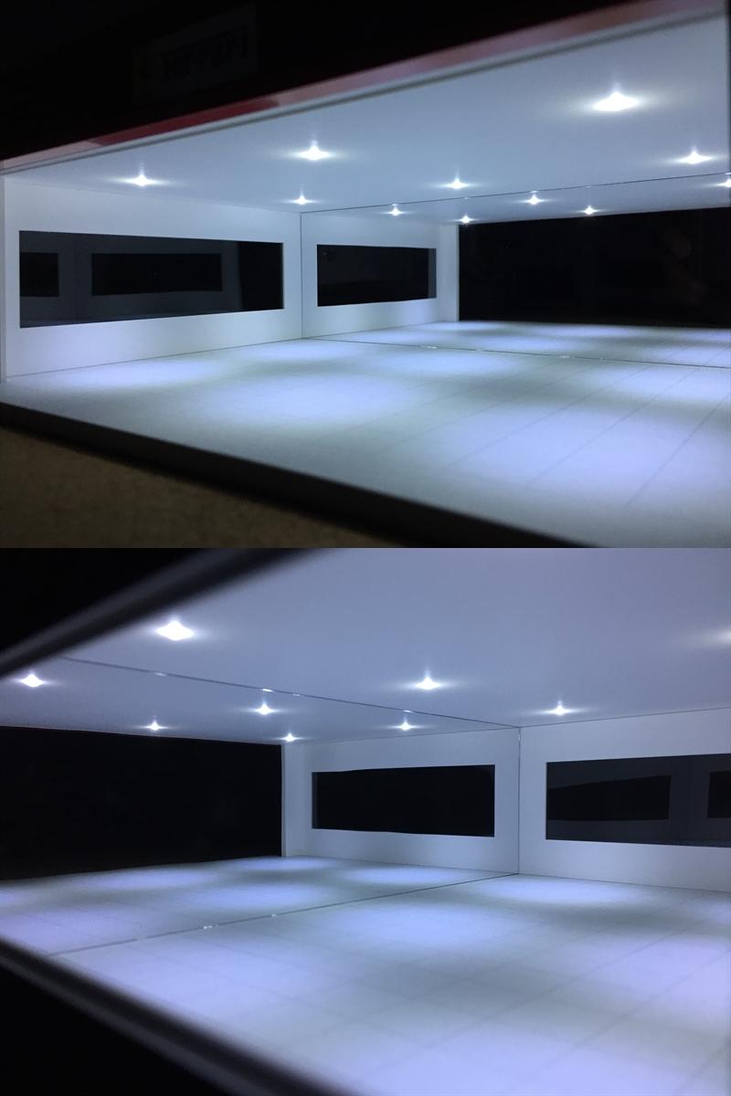 ジオラマ:1/64&1/43 ガレージタイプショールームⅠ(シルバー)/シャッター&LED証明付/お手軽サイズ/1/64&1/43対応モデル!_画像7