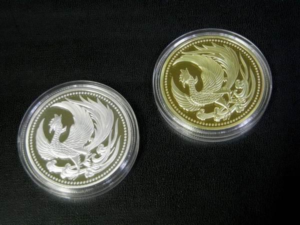 鳳凰 菊の御紋 記念メダル・コイン 金色・ゴールド 十六菊 皇室の菊紋 平成・令和 フェニックス 火の鳥 不死鳥 _透明プラケース入り。シルバーは別出品です