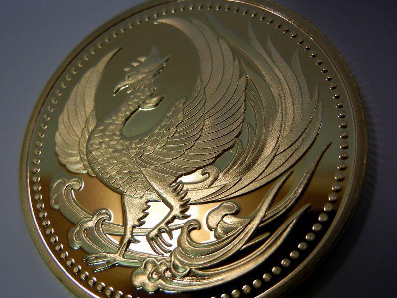 鳳凰 菊の御紋 記念メダル・コイン 金色・ゴールド 十六菊 皇室の菊紋 平成・令和 フェニックス 火の鳥 不死鳥 _画像5