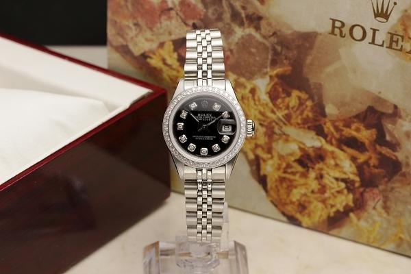 ◆ロレックス パーペチュアルデイト レディ 6924 グロスブラック×10ダイヤモンド OH済 保証付◆_画像10