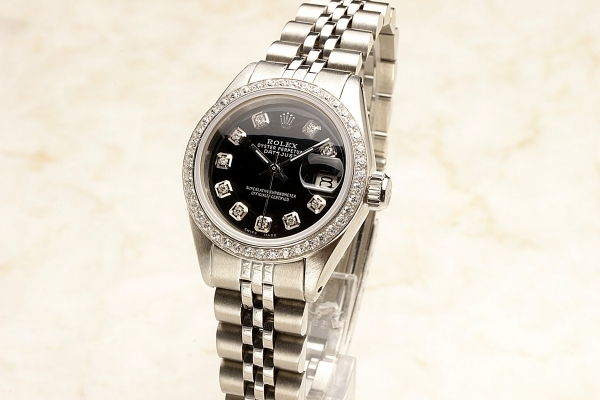 ◆ロレックス パーペチュアルデイト レディ 6924 グロスブラック×10ダイヤモンド OH済 保証付◆_画像6