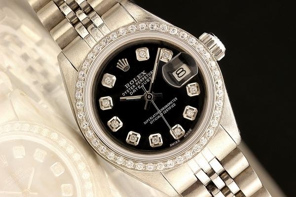 ◆ロレックス パーペチュアルデイト レディ 6924 グロスブラック×10ダイヤモンド OH済 保証付◆_画像2