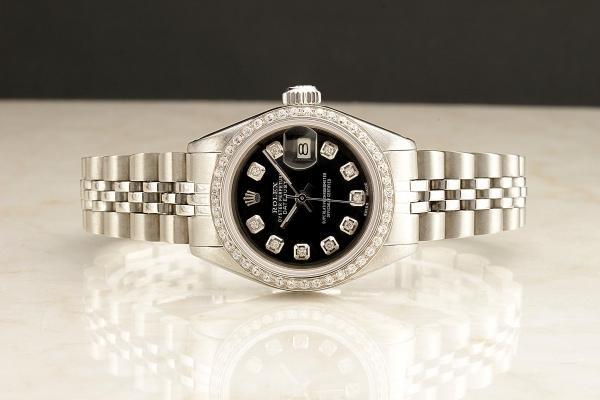 ◆ロレックス パーペチュアルデイト レディ 6924 グロスブラック×10ダイヤモンド OH済 保証付◆_画像3