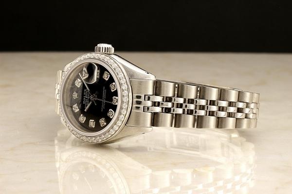 ◆ロレックス パーペチュアルデイト レディ 6924 グロスブラック×10ダイヤモンド OH済 保証付◆_画像4