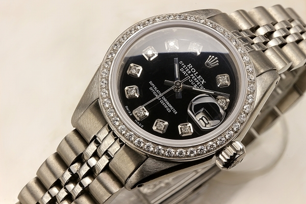 ◆ロレックス パーペチュアルデイト レディ 6924 グロスブラック×10ダイヤモンド OH済 保証付◆_画像8
