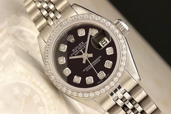 ◆ロレックス パーペチュアルデイト レディ 6924 グロスブラック×10ダイヤモンド OH済 保証付◆