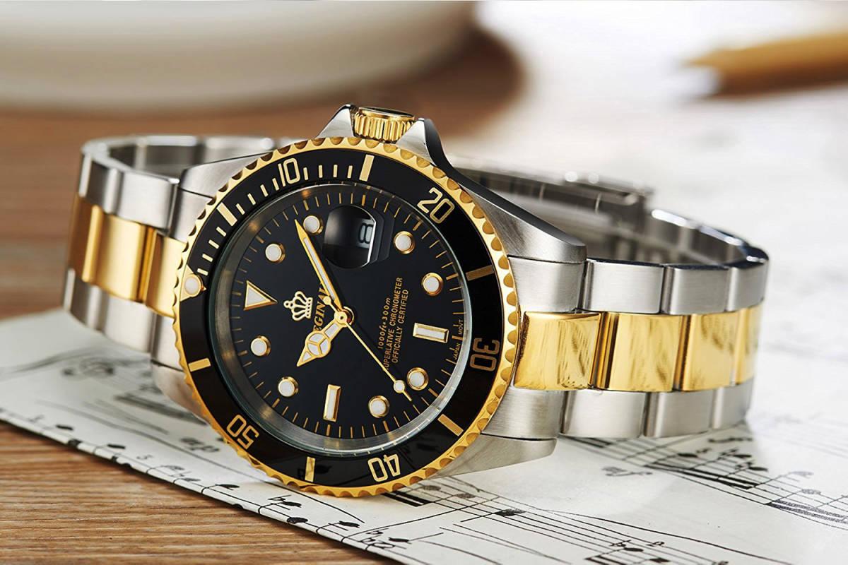 高品質 ダイバーウォッチ 腕時計 メンズ 人気トップブランド ROLEX風 サブ マリーナ ステンレス 300M防水性サファイア 共箱 国内発送即_画像5