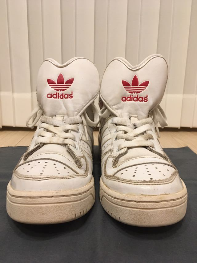 adidas Originals Attitude Logo Heart shoes ハイカット スニーカー 24.5㎝ ホワイト 三つ葉ロゴ アディダス オリジナルス_画像3