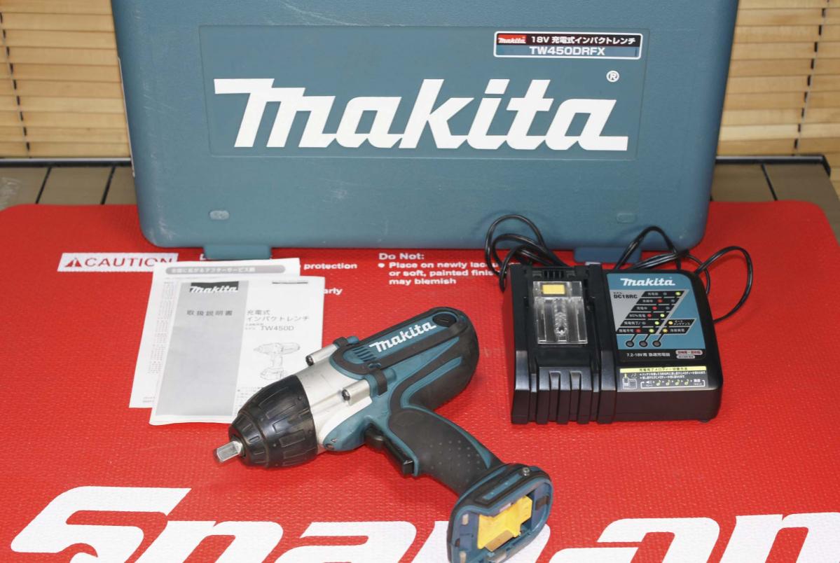 # マキタ makita 中古品 18V充電式インパクトレンチ (バッテリー無)最大締付トルク380N・mの高トルクモデル TW450D TW450DRFX