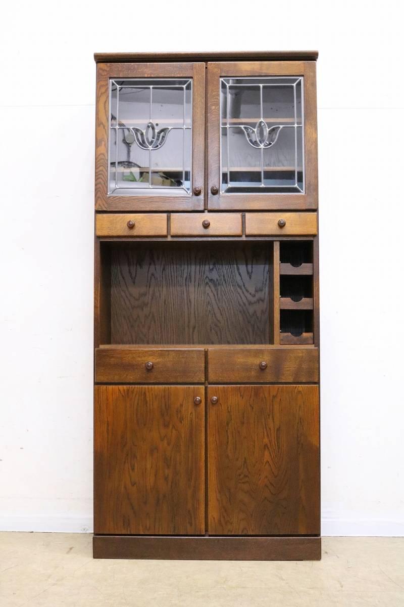 高級三越家具【ブルージュ】ステンドグラスキャビネット・食器棚・カップボード◆オーク材・英国カントリー_画像2