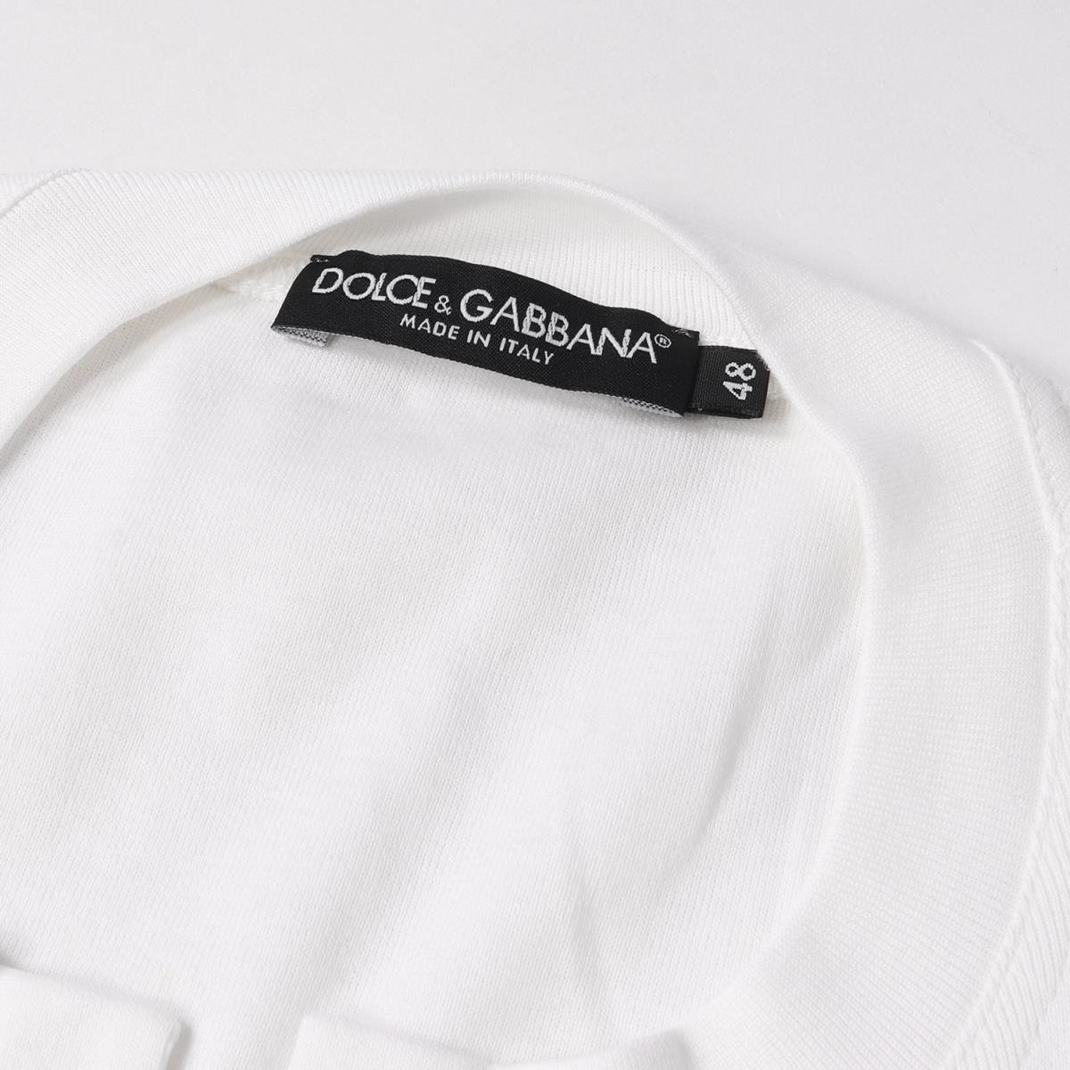 美品 DOLCE&GABBANA ドルチェ&ガッバーナ コットン キーネック Tシャツ ホワイト 48_画像3