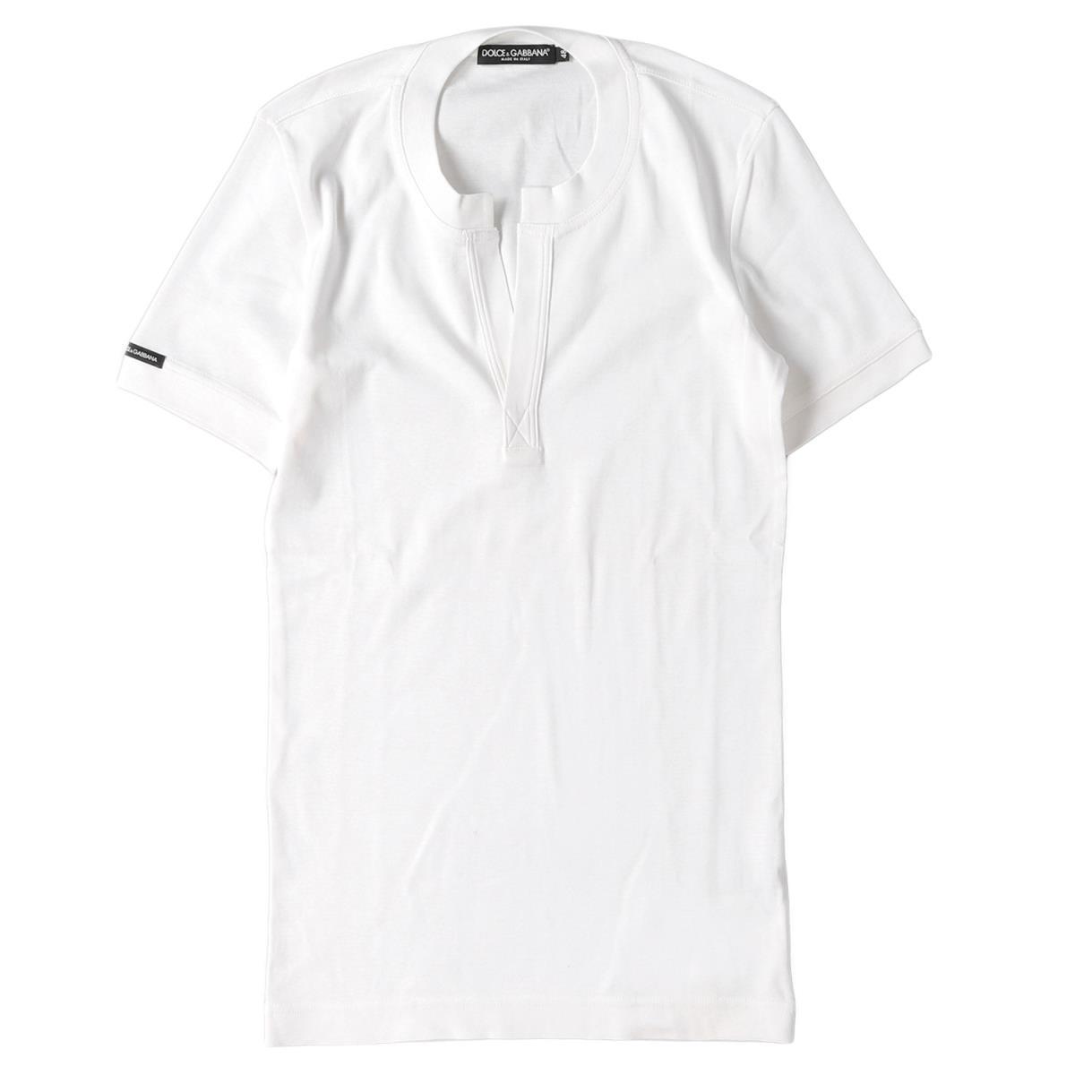 美品 DOLCE&GABBANA ドルチェ&ガッバーナ コットン キーネック Tシャツ ホワイト 48