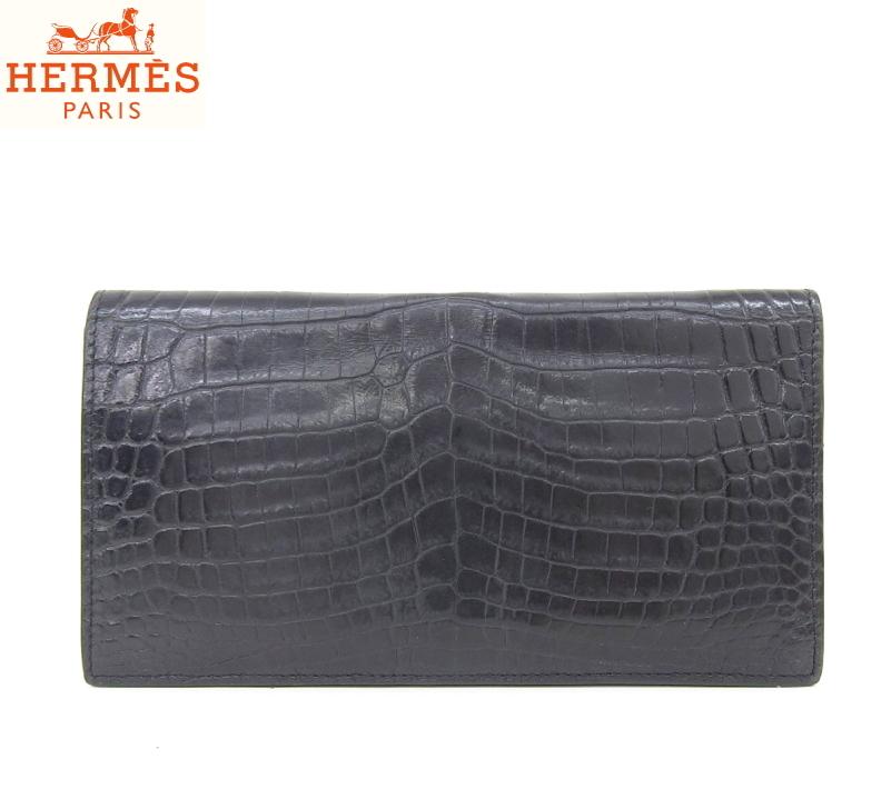 48b0e0570207 エルメス HERMES MC2フレミング 二つ折り長財布 札入れ 希少素材 クロコダイル ポロサス バーキンのお供