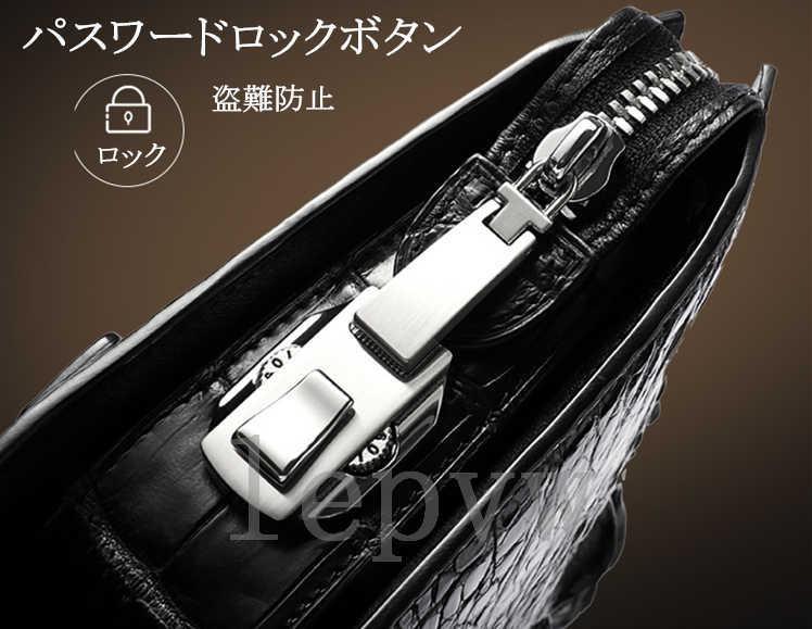 極上 高級素材 クロコダイル革 頭部革 ミニセカンドバッグ メンズ ワニ革 パスワードロックボタン 盗難防止 紳士用C191-A-36000_画像5