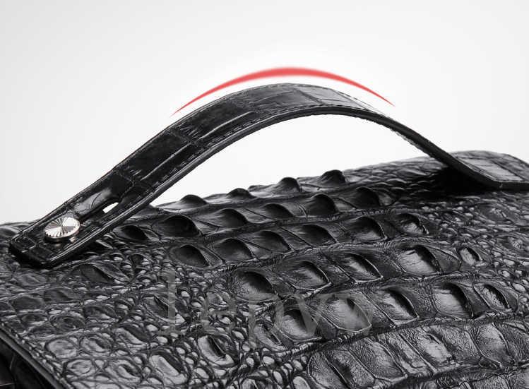 極上 高級素材 クロコダイル革 頭部革 ミニセカンドバッグ メンズ ワニ革 パスワードロックボタン 盗難防止 紳士用C191-A-36000_画像3