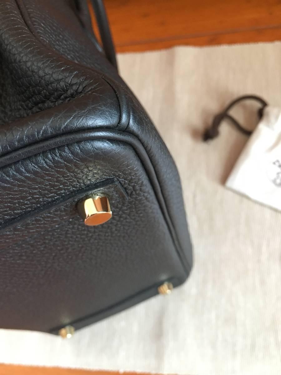 エルメス バーキン 極美品 ブラック バーキン 25 大人気 ハンドバッグ T刻印 ノワール ゴールド金具 ヴォートゴ シェーブル_画像4