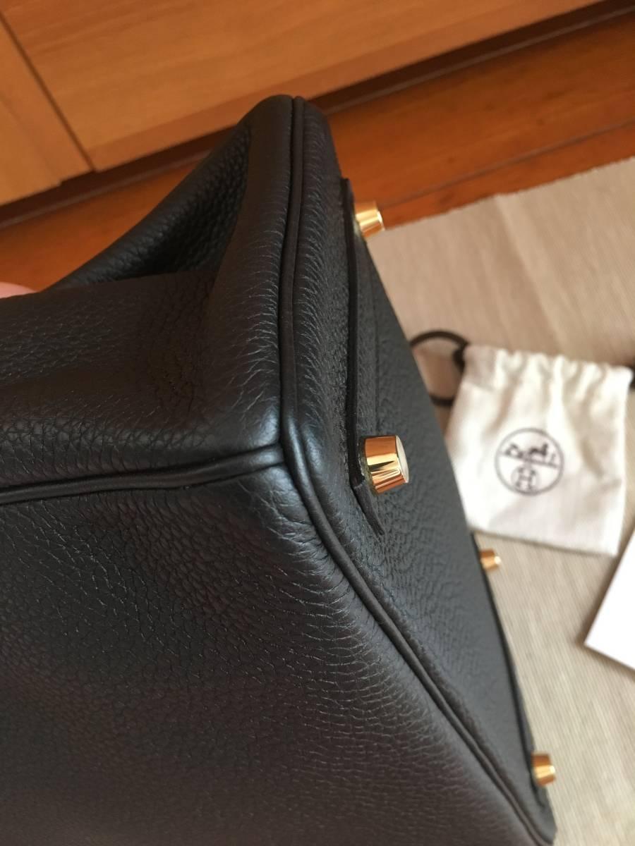 エルメス バーキン 極美品 ブラック バーキン 25 大人気 ハンドバッグ T刻印 ノワール ゴールド金具 ヴォートゴ シェーブル_画像5