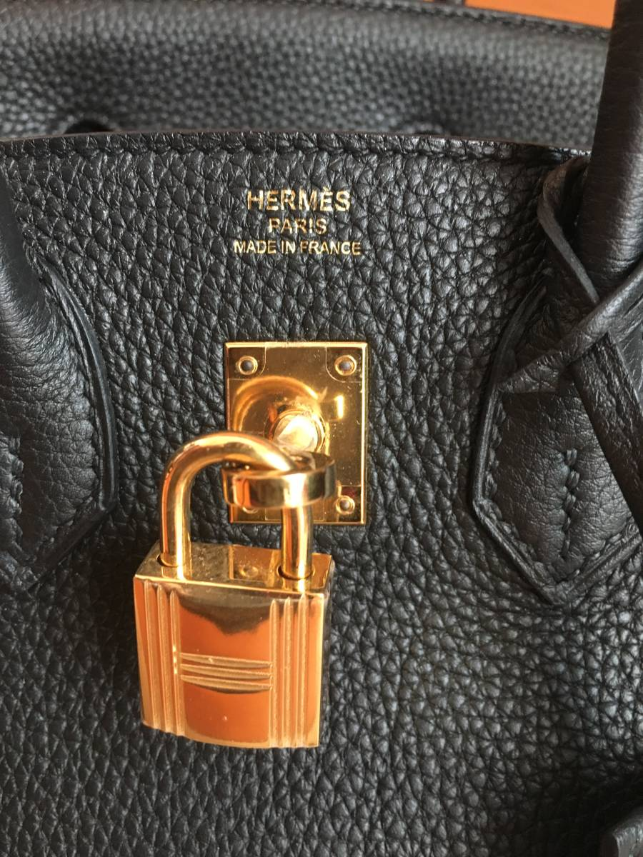 エルメス バーキン 極美品 ブラック バーキン 25 大人気 ハンドバッグ T刻印 ノワール ゴールド金具 ヴォートゴ シェーブル_画像8