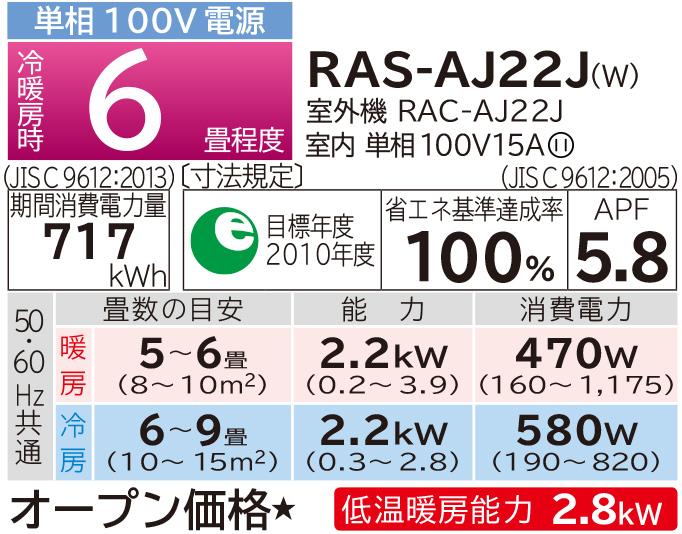 ☆新品☆日立 白くまくん ルームエアコン RAS-AJ22J 6畳用 2019年製_画像5