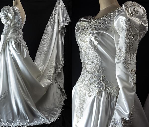 これぞウェディングドレス 最強光沢 超豪華 厚手 サテン 超つるつる ウェディングドレス_画像3