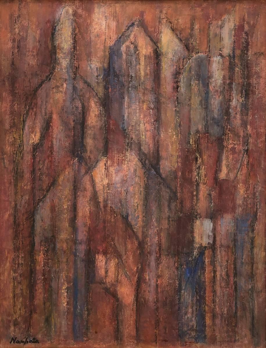 【H】特別出品!抽象画巨匠「難波田龍起」キャンバスに油彩6号傑作!_画像2